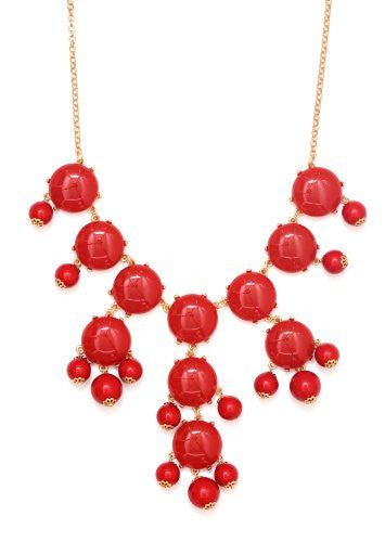 Bubble Bib Necklace Neon Red Crystal Bauble NG20 Beaded Gold Tone Luxury Large Statement Fashion Jewelry