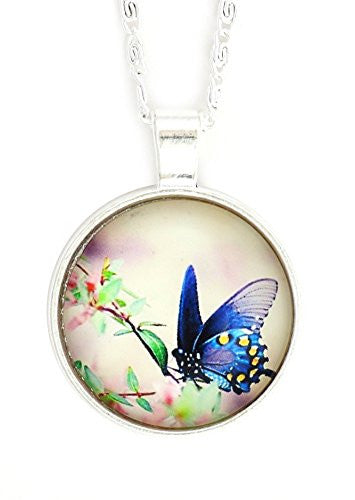 Blue Butterfly Art Necklace Silver Tone NX62 Floral Cabochon Art Pendant Fashion Jewelry