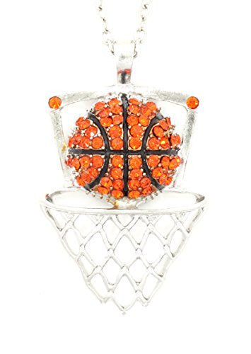 Crystal Basketball Net Necklace Athletic Ball Sports Pendant Silver Tone NR29 Fashion Jewelry