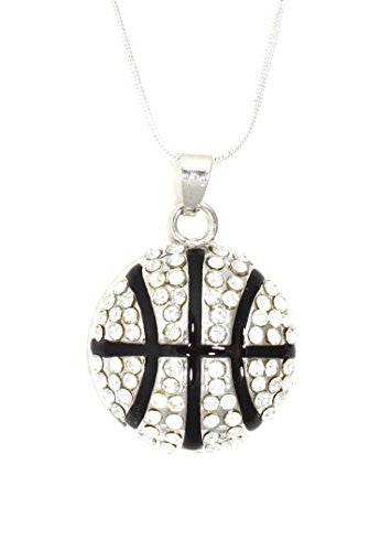 Crystal Basketball Necklace Athletic Ball Sports Pendant Silver Tone NR06 Fashion Jewelry