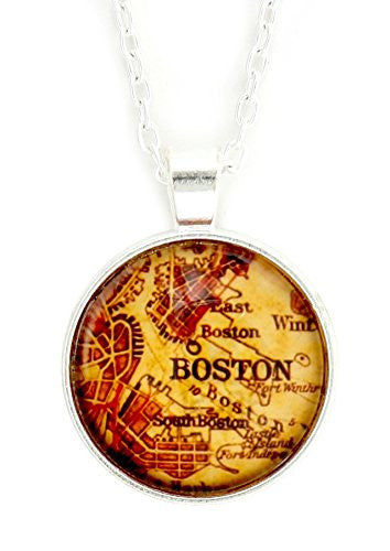 Boston Massachusetts Map Necklace Silver Tone New England Pendant NY64 Hometown Fashion Jewelry