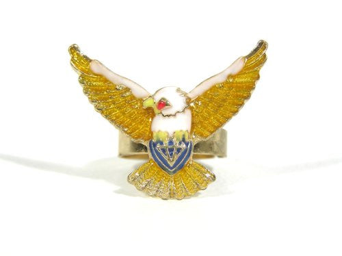 Bald Eagle Ring Adjustable Gold Tone Patriotic Statement RG36 Fashion Jewelry