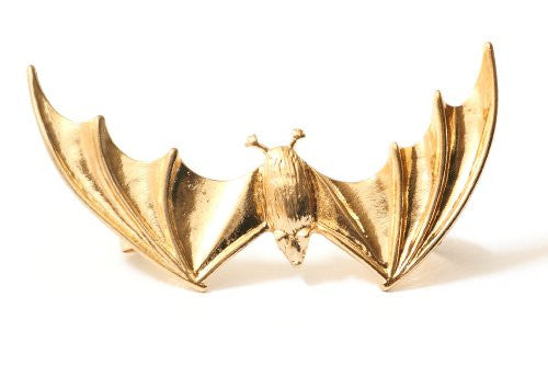 Vampire Bat Earring Ear Cuff Gold Tone CC22 Gothic Animal Clip on Halloween Fashion Jewelry