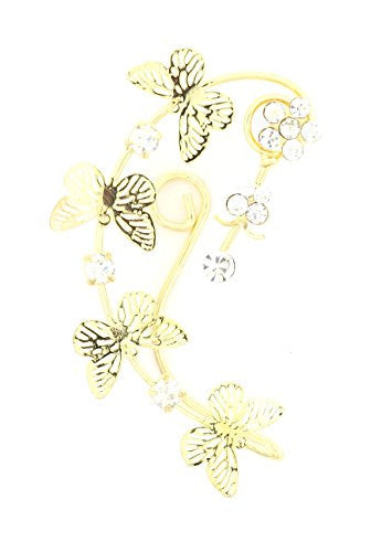Floral Butterfly Crystal Ear Cuff Metal Wrap Gold Tone Earring CE27 Fashion Jewelry