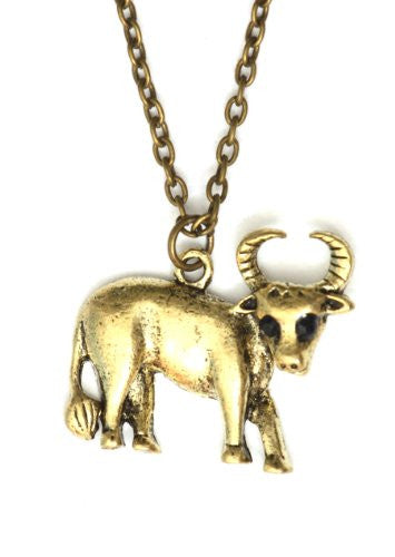 Taurus Necklace Antique Zodiac Sign NG33 Crystal Bull Gold Tone Pendant Astrology Charm Horoscope