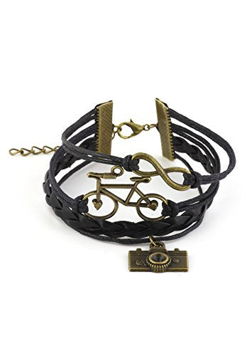 Bicycle Camera Infinity Charms Bracelet Gold Tone BE15 Black Faux Leather Vintage Bike Fashion Jewelry