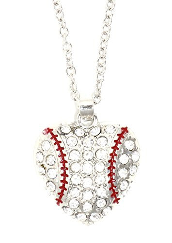 Crystal Baseball Heart Necklace Athletic Ball Sports Pendant NQ39 Silver Tone Fashion Jewelry