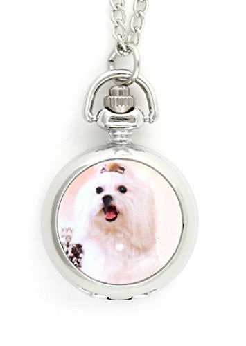 Maltese Dog Pocketwatch Necklace White Long Haired Pet Silver Tone NY57 Watch Pendant Fashion Jewelry