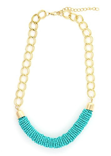 Turquoise Beads Necklace Gold Tone NS32 Beaded Teal Blue Fashion Jewelry