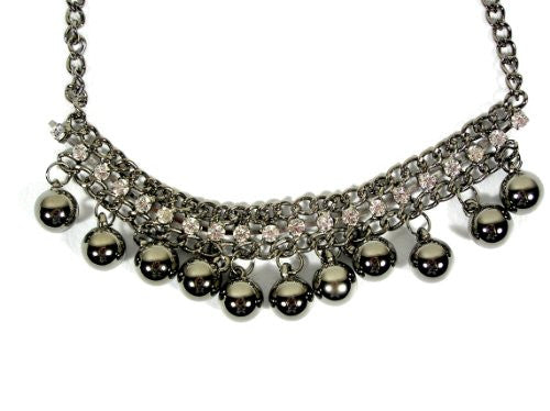 Metal Spheres Necklace Silver Tone Bubble Balls Strand NF00 Statement Spread Fashion Jewelry