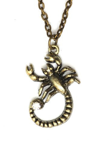 Scorpio Necklace Antique Zodiac Sign MA06 Crystal Scorpion Gold Tone Pendant Astrology Charm Horoscope