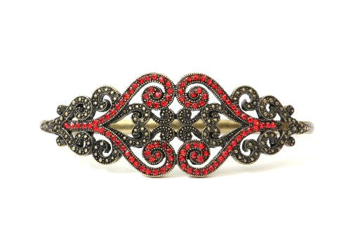 Baroque Crystal Palm Bracelet Gold Tone Band BB05 Red Hand Piece Statement Fashion Jewelry