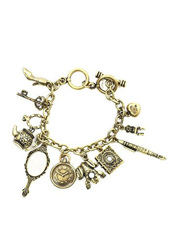 Fairy Tale Charms Bracelet Antique Gold Tone Frog Prince Glass Slipper Mirror Teapot Key Book Pen BB58