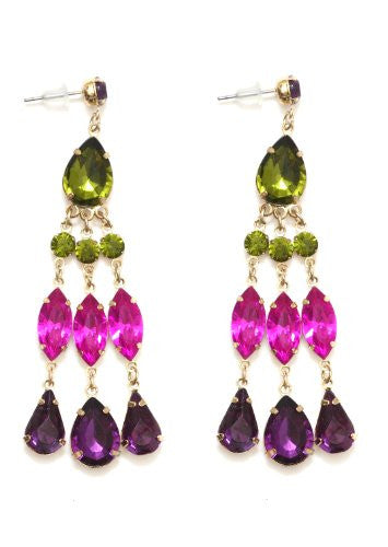 Green Purple Crystal Chandelier Earrings Dangling EC18 Vintage Posts Fashion Jewelry
