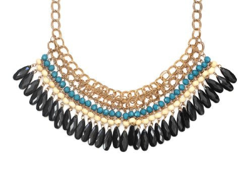 Beaded Chains Statement Bib Necklace Black Teardrop Crystal NK07 Gold Tone Fashion Jewelry