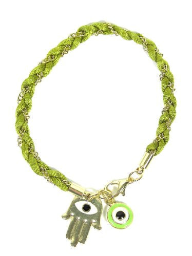 Green Hamsa Evil Eye Bracelet BB33 Hand of Miriam Nazar Judaica Amulet Karma Fashion Jewelry