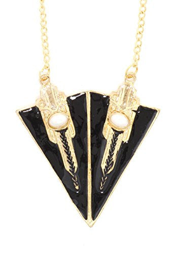 Art Deco Triangles Necklace Black Geometric Statement Pendant NR15 Fashion Jewelry