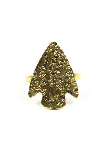 Arrowhead Ring Adjustable Tribal Native Gold Tone Southwestern Vintage Cocktail RJ11 Fashion Jewelry