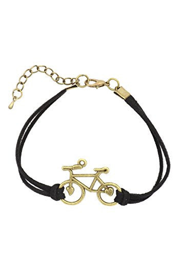 Bicycle Bracelet Antique Gold Tone Black Faux Leather Band Vintage Bike BA58 Fashion Jewelry