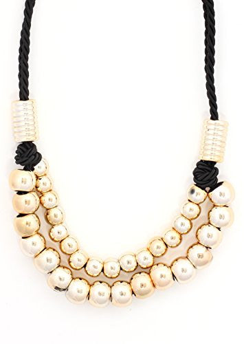Beaded Rope Strand Gold Tone Spheres Bib Necklace NR07 Fashion Jewelry