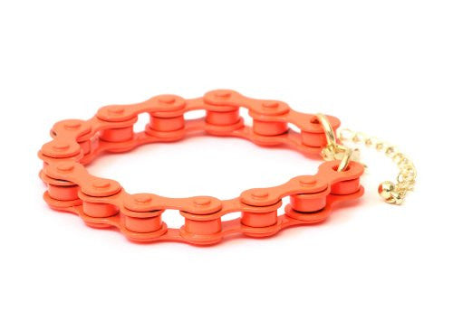 Bicycle Chain Bracelet Neon Orange Bike BB30 Retro Cycling Bangle Cyclist Fashion Jewelry