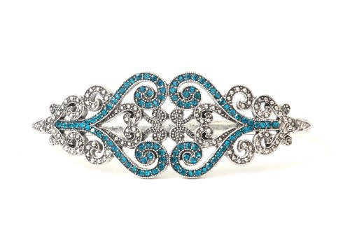 Baroque Crystal Palm Bracelet Silver Tone Band BB04 Blue Hand Piece Statement Fashion Jewelry
