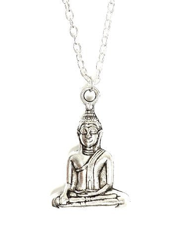 Meditating Buddha Necklace Silver Tone Pendant NP09 Fashion Jewelry