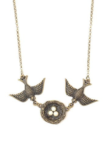 Love Birds Nest Necklace Vintage Sparrows Antique Gold Tone Pendant NN25 Fashion Jewelry