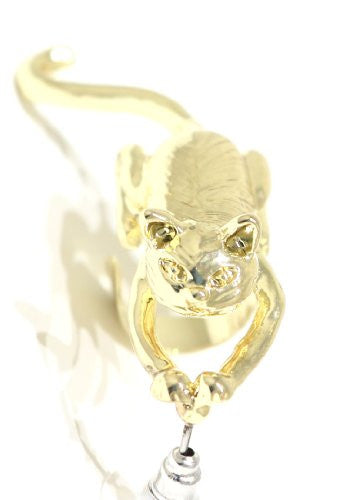 Cat Earring Ear Cuff Metal Wrap Kitty Gold Tone CC04 Kitten Animal Fashion Jewelry
