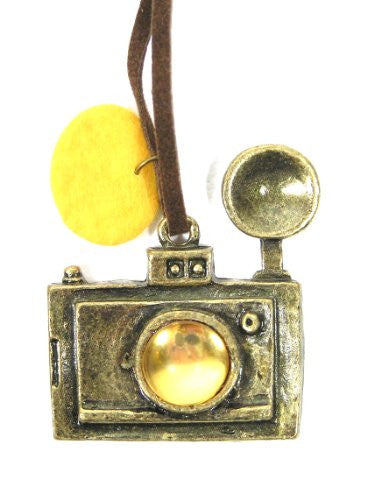 Amber Camera Necklace Photographer Gold Tone Pendant NB13