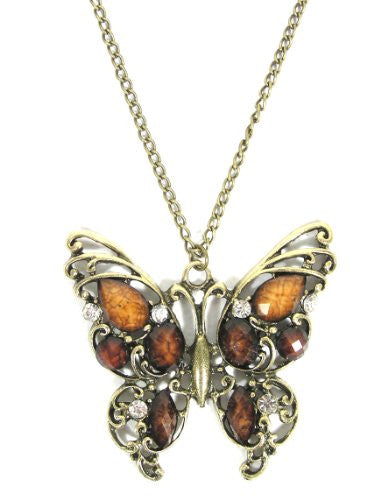Crystal Butterfly Necklace Vintage Gold Tone Charm NC47 Moth Pendant