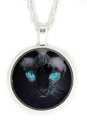 Blue Eyed Black Cat Necklace Silver Tone NV45 Pet Kitty Art Print Pendant Fashion Jewelry
