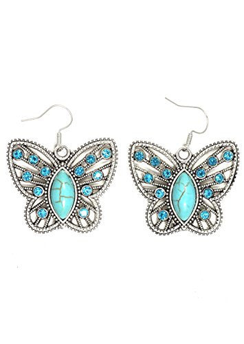 Turquoise Butterfly Earrings Cabochon Antique Silver Tone EI58 Dangle Blue Crystal Fashion Jewelry