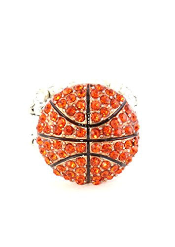 Crystal Basketball Ring Adjustable Stretch Band Silver Tone Athletics RK35 Sports Fashion Jewelry