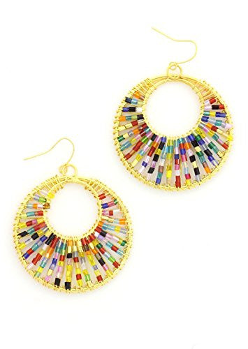 Multicolor Beaded Wire Hoop Earrings Gold Tone EK40 Bohemian Statement Fashion Jewelry