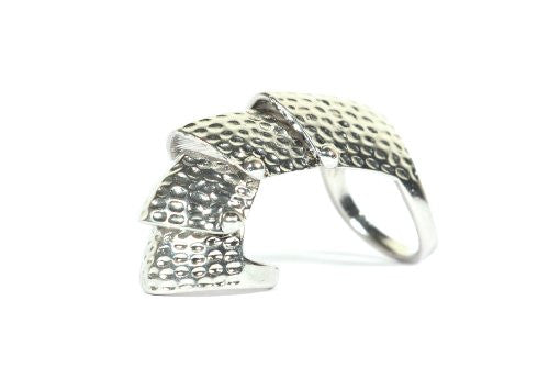 Hinged Armor Ring Size 5.5 Finger Silver Tone Plate Scales RB32 Knuckle Cocktail