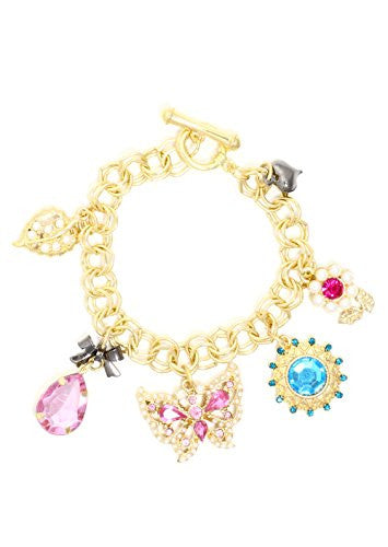 Butterfly Flower Leaf Charms Bracelet Gold Tone Crystal Garden Pink Blue Bangle BA41 Fashion