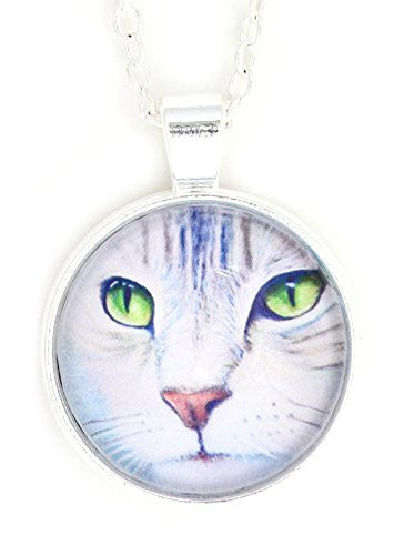 Green Eyes Cat Necklace Silver Tone NW21 Pet Kitty Art Print Pendant Fashion Jewelry