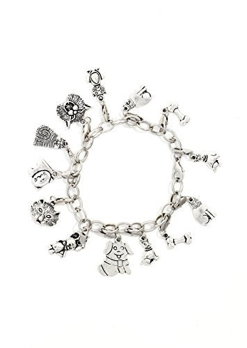 Cats and Dogs Charms Bracelet Silver Tone BC59 Pet Animals Kitty Mouse Puppy Bone Bangle Fashion