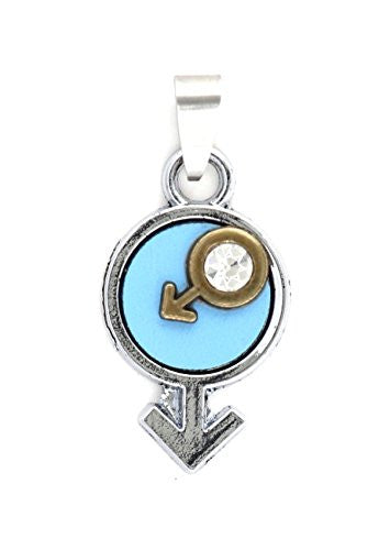 Male Gender Symbol Pendant Crystal Man Sign MA11 Mars Astrology Glyph Statement Fashion Jewelry