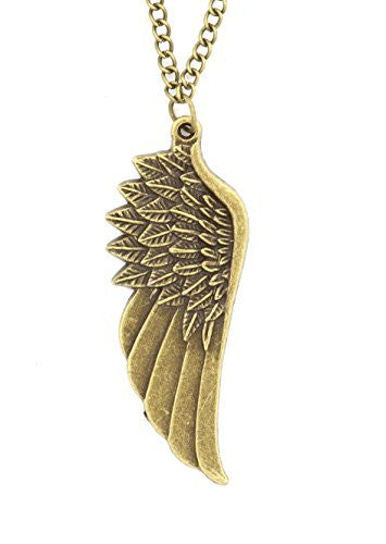 Angel Wing Necklace Antique Gold Tone Pendant NR02 Fashion Jewelry
