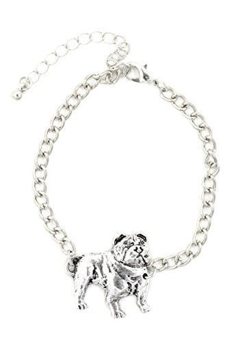 Bulldog Bracelet Pet Dog Silver Tone Charm BD40 Fashion Jewelry