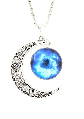 Crescent Moon and Cosmic Nebula Necklace Vintage Silver Tone Lunar Filigree Pendant NQ60 Fashion Jewelry