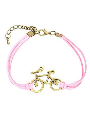 Bicycle Bracelet Antique Gold Tone Pink Faux Leather Band Vintage Bike BA59 Fashion Jewelry