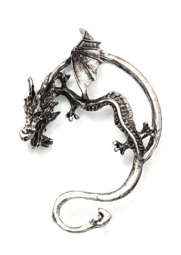 Dragon Earring Ear Cuff Metal Wrap Ancient Wyrm Silver Tone CA20 Draco Leviathan Fantasy Fashion Jewelry