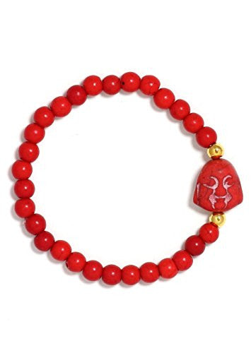Happy Buddha Charm Red Howlite Karma Beads Stretch Bracelet BF06 Vintage Amulet Fashion Jewelry