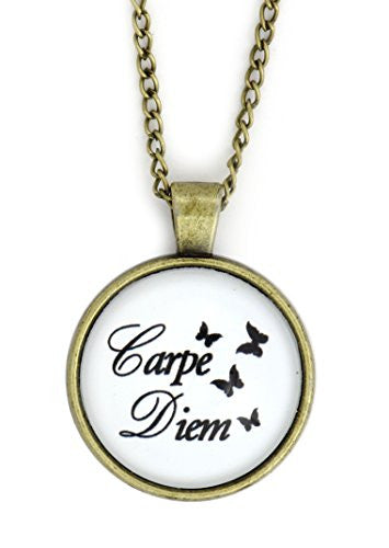 Carpe Diem Necklace Gold Tone NW63 Seize the Day Latin Butterflies Pendant Fashion Jewelry