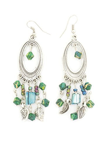 Green Beads Dangling Earrings Silver Tone Feather Charms EI45 Fashion Jewelry