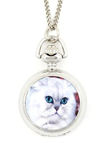 Pretty Kitty Pocketwatch Necklace White Long Haired Cat Silver Tone NW04 Watch Pendant Fashion Jewelry