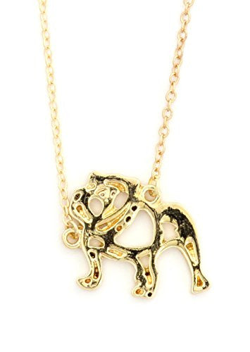 Bulldog Outline Necklace Gold Tone NV51 Pet Puppy Dog Pendant Fashion Jewelry